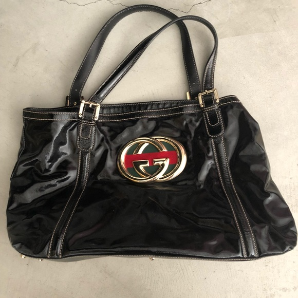2c2ebe846882 Gucci Bags | Double G Tote Bag Black Patent Leather | Poshmark